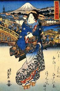 Nihonbashi in Edo, 1852 by Keisai Eisen