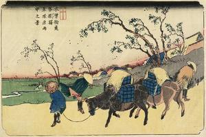 No. 20: View of Hiratsukahara in Rain Near Kustukake Station, 1830-1844 by Keisai Eisen