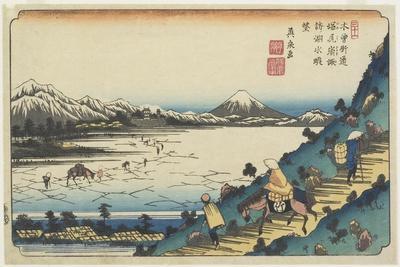 No.31: View of Lake Suwa as Seen from Shiojiri Pass, 1835-1836