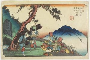 No. 36: Fountain and the Inkstone at the Torii Pass Near Yabuhara Station, 1830-1844 by Keisai Eisen
