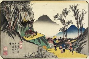 No.44 Distant View of Magome Station from the Pass, 1830-1844 by Keisai Eisen