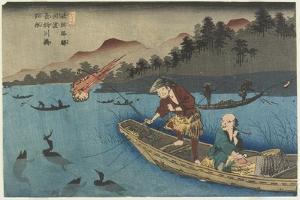 No.55 Cormorant Fishing Boat at Nagae River Near Koto Station, 1830-1844 by Keisai Eisen