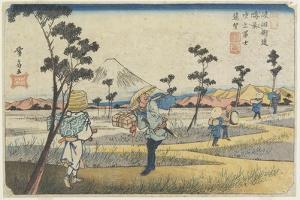 No.8 Distant View of Mt. Fuji as Seen from Fukiage Near Konosu Station, 1830-1844 by Keisai Eisen