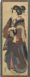 Waitress Holding a Black Lacquer Stand, Early 19th Century by Keisai Eisen