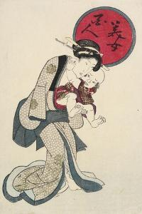 Woman Holding a Baby by Keisai Eisen