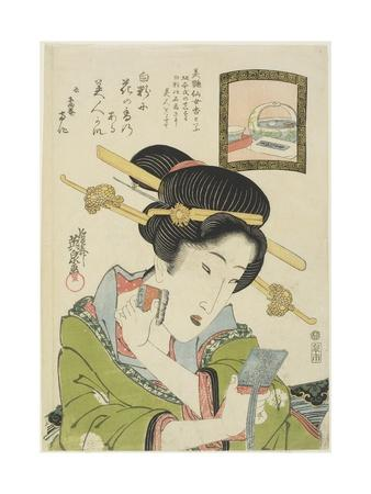 Woman Putting on Face Powder, 1820-1822