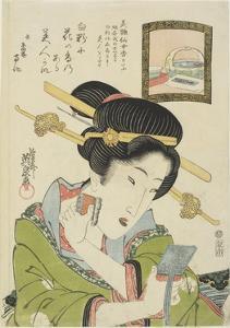 Woman Putting on Face Powder, 1820-1822 by Keisai Eisen