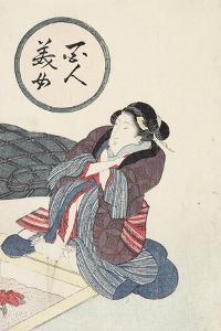 Woman Warming Her Feet at Hearth by Keisai Eisen