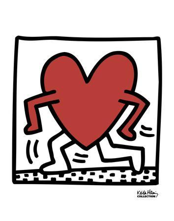 Keith Haring 1982 red dog on yellow Abstract Contemporary Print Poster 20x22