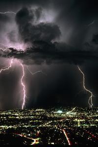 Lightning Strikes At Night In Tucson, Arizona, USA by Keith Kent