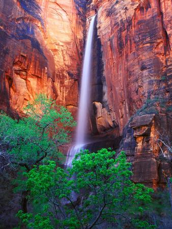 Heavy Spring Run Off Creating a Seldom Seen Waterfall in Zion National Park