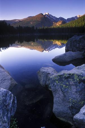 Reflection of Longs Peak in Bear Lake, Rocky Mountain National Park, Colorado