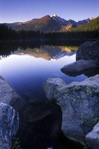 Reflection of Longs Peak in Bear Lake, Rocky Mountain National Park, Colorado by Keith Ladzinski