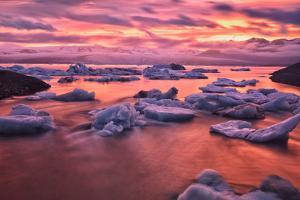 Sunset over Glacier Bay in Iceland by Keith Ladzinski
