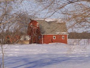 Barn and Snow Scene, Gimli, Manitoba by Keith Levit