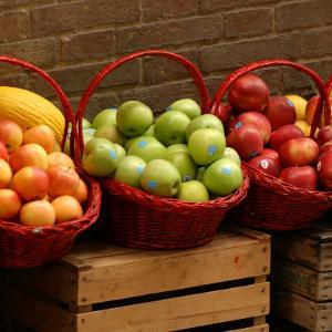 Baskets of Fruit for Sale, Tuscany by Keith Levit