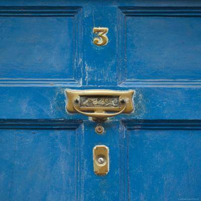 Ireland, Kinsale, Doorknocker on Blue Door