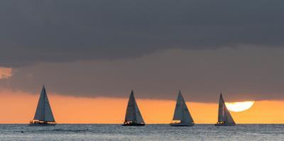 Sailboats in the Ocean at Sunset, Waikiki, Honolulu, Oahu, Hawaii, USA