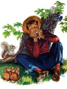Boy Playing Harmonica - Child Life by Keith Ward