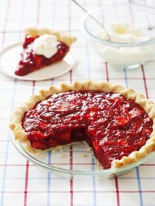Strawberry Pie in Baking Dish with Slice Removed by Keller and Keller Photography