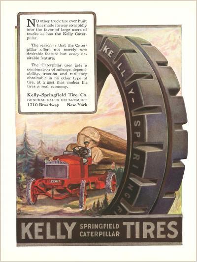 Kelly Tires, Tractor Hauling Logs--Art Print