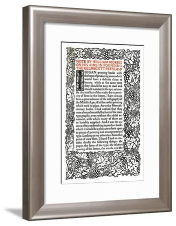 'Kelmscott Press: Page printed in the Golden Type', c.1895, (1914)-William Morris-Framed Giclee Print