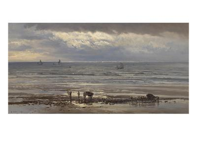 Kelp Gatherers - a Grey Morning, 1874-Henry Moore-Giclee Print