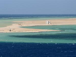 Lone House on Sand Spit, on the Approach to Safaga, Egypt, North Africa, Africa by Ken Gillham