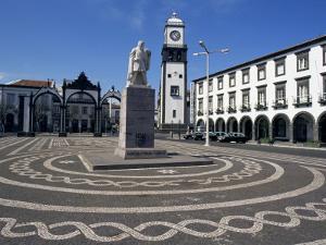 Main Square with Cabral Statue, Ponta Delgada, Sao Miguel Island, Azores, Portugal, Atlantic by Ken Gillham