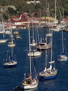 Moored Sailing Boats in Gustavia Harbour, St. Barthelemy, Leeward Islands, West Indies by Ken Gillham
