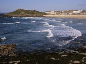 Porthmeor Beach and St. Ives Head, St. Ives, Cornwall, England, United Kingdom by Ken Gillham