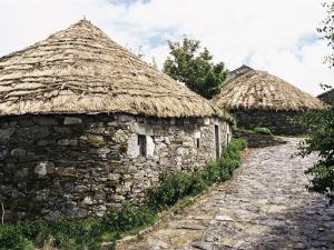 Rounded Thatched Pallozas of Celtic Origin, Cebreiro, Lugo Area, Galicia, Spain by Ken Gillham