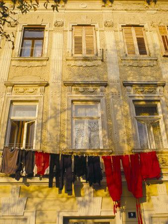 Washing Line of Colourful Laundry in Old Town Buzet, Hilltop Village, Buzet, Istria, Croatia