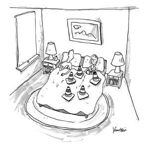 Man is blocked by woman's set of cones. - New Yorker Cartoon by Ken Krimstein