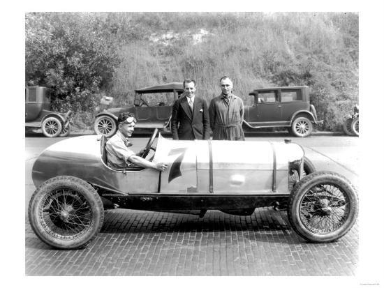 Ken Schoenfeld with Racecar in Seattle Photograph - Seattle, WA-Lantern Press-Art Print