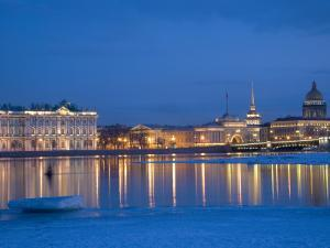 Russia, St;Petersburg; the Partly Frozen Neva River in Winter, with the Winter Palace by Ken Sciclina