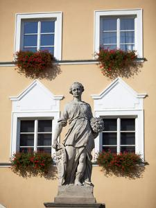Czech Republic, Moravia, Mikulov. Detail of Statue and Facade in the Historical Centre. by Ken Scicluna