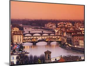 Italy, Florence, Tuscany, Western Europe, 'Ponte Vecchio' and Other Bridges on the Arno River and S by Ken Scicluna