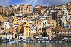 Italy, Sicily, Sciacca. the Port with the Houses in the Historic Centre. by Ken Scicluna