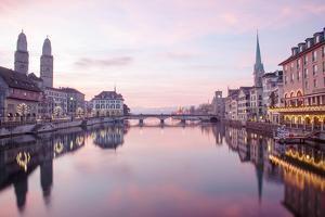 Switzerland, Zurich. Zurich Historic Quarter over the Limmat River. by Ken Scicluna