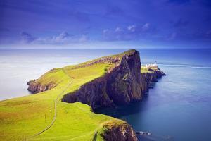 Uk, Scotland, Inner Hebrides, Isle of Skye. the Neist Point Lighthouse Far Beneath the Cliffs. by Ken Scicluna
