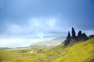 Uk, Scotland, Inner Hebrides, Isle of Skye. the Old Man of Storr in Dramatic Weather. by Ken Scicluna