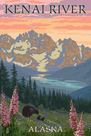 Kenai River, Alaska - Bear Family and Flowers-Lantern Press-Art Print