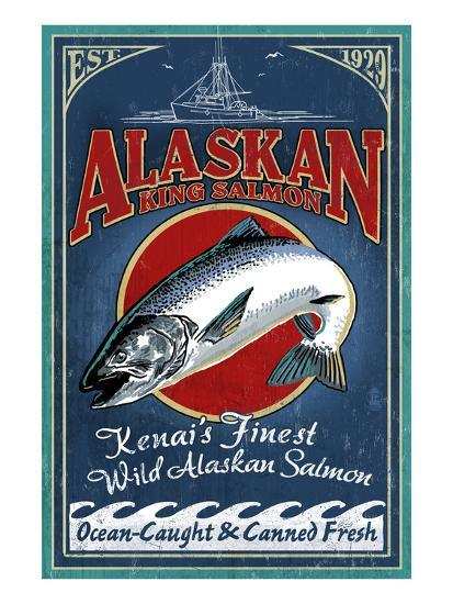 Kenai River, Alaska - Salmon-Lantern Press-Art Print
