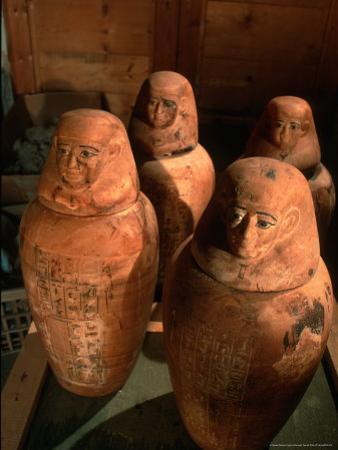 26th Dynasty Canopic Jars, Tomb of Iufaa, Abu Sir, Egypt
