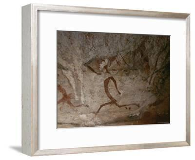A View of Running Men in a Cave Painting in the Drakensberg Range