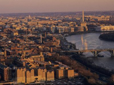Aerial View of D.C. and the Potomac River from Georgetown, Washington, D.C.