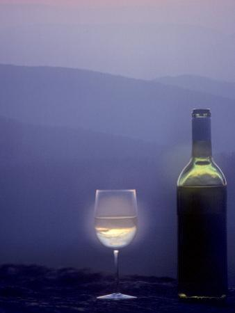 Bottle of Wine and Glass against a Scenic Background, Blue Ridge Mountains, Virginia