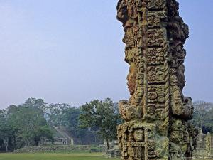 Carved Mayan Pillar, Honduras by Kenneth Garrett