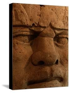 Close View of a Colossal Stone Head Carved by the Olmec by Kenneth Garrett